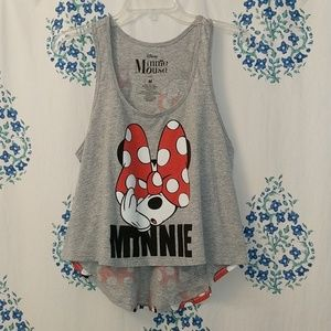 Disney Minnie Mouse Loose Gray Tank Top Size M